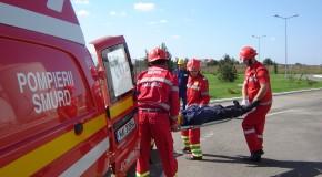 Persoană rănită într-un accident rutier pe A2