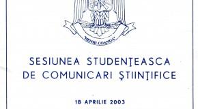 O COMUNICARE ŞTIINŢIFICĂ A UNUI STUDENT DIN 2003